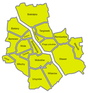 Mapa podziału warszawy na dzielnice